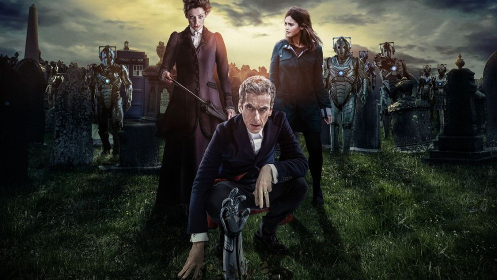 Picture shows: Missy (MICHELLE GOMEZ), The Doctor (PETER CAPALDI), Clara (JENNA COLEMAN) and Cybermen