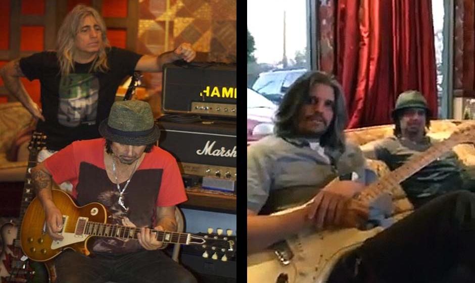 Mikey Dee und Phil Campbell (Motörhead) bei den Aufnahmen-Phil Campbell mit Studio-Nachbar Adam Jones (Tool)