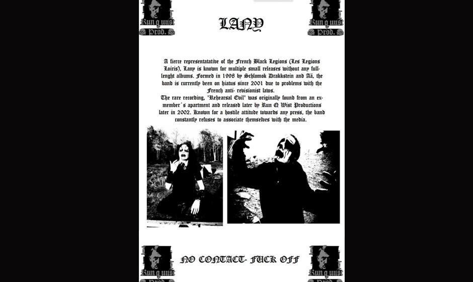 Die mittlerweile gelöschte Bandbiografie von Lany mit Abbildungen von Adolf Hitler