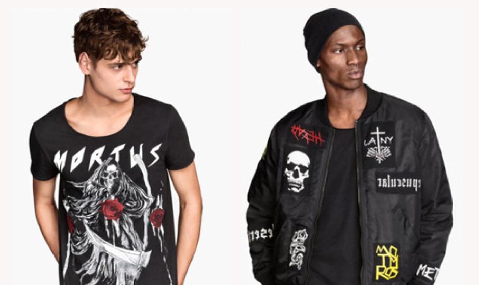 H & M-Shirt mit 'Mortus'-Aufdruck & Jacke mit Patches angeblicher Strong Scene Prodcutions-Bands