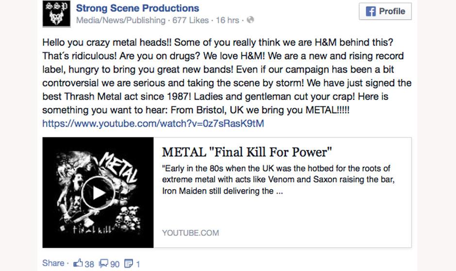 Statement auf der Facebook-Seite von Strong Scene Production