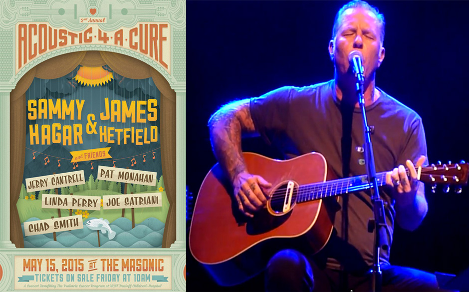 'Acoustic-4-A-Cure'-Plakat 2015 & James Hetfield (Metallica) beim 'Acoustic 4 Cure'-Konzert 2014