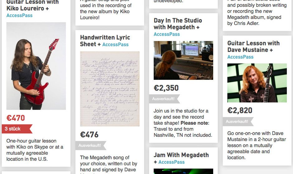Teil der Boni der Megadeth-PledgeMusic-Kampagne