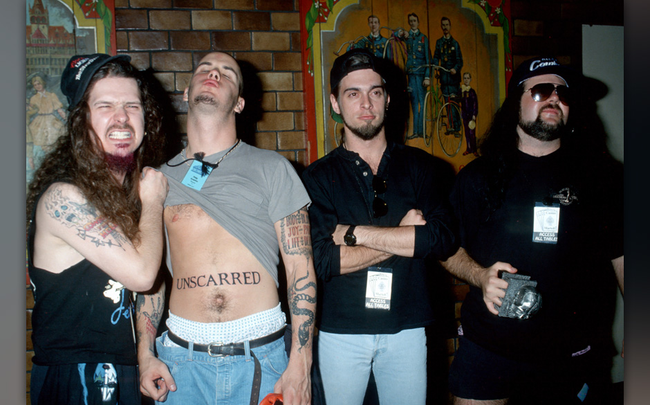 Pantera  From left to right: Dimebag Darrell, Phil Anselmo, Rex, and Vinnie Paul (Photo by Ron Galella, Ltd./WireImage)