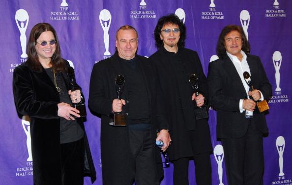 Ozzy Osbourne, Bill Ward, Tony Iommi and Geezer Butler of Black Sabbath, inductees (Photo by Michael Loccisano/FilmMagic)