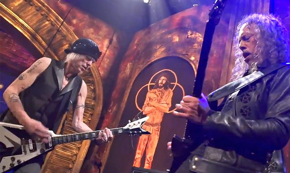 Gemeinsame Jam von Michael Schenker (MSG, Ex-UFO) und Kirk Hammett (Metallica) während der Aufzeichnung der 'That Metal Sh