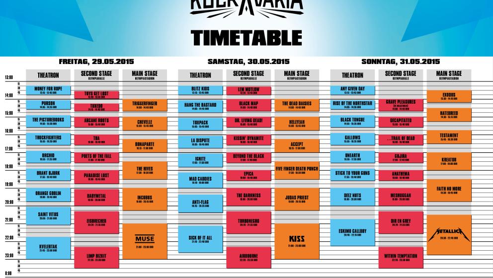 Timetable für das Rockavaria