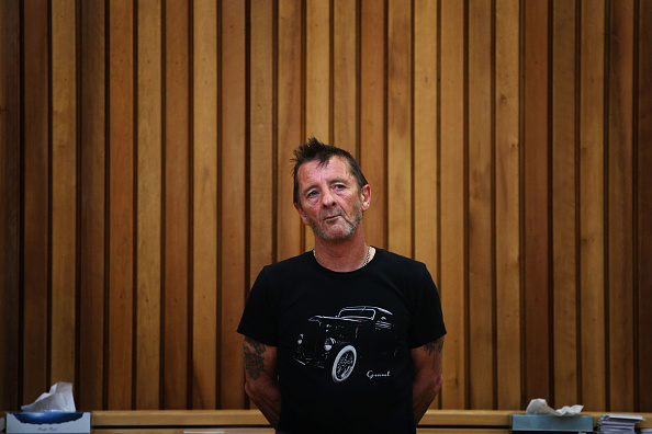 TAURANGA, NEW ZEALAND - NOVEMBER 26:  AC/DC drummer Phil Rudd appears in court after being charged with threatening to kill a