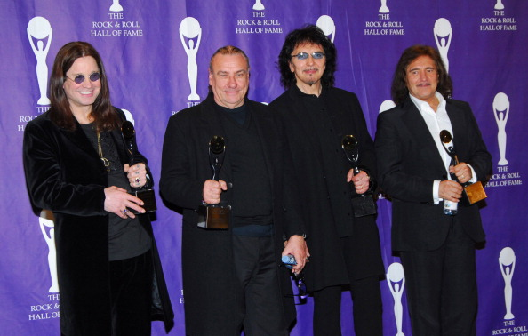 Ozzy Osbourne, Bill Ward, Tony Iommi and Geezer Butler of Black Sabbath, inductees (Photo by Michael Loccisano/FilmMagic)