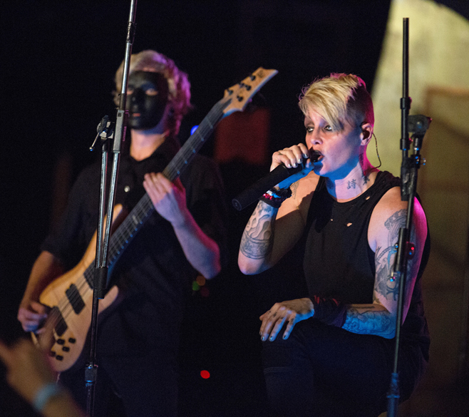 INDIANAPOLIS, IN - OCTOBER 08:  OTEP performs onstage at The Emerson Theater on October 8, 2013 in Indianapolis, Indiana.  (P