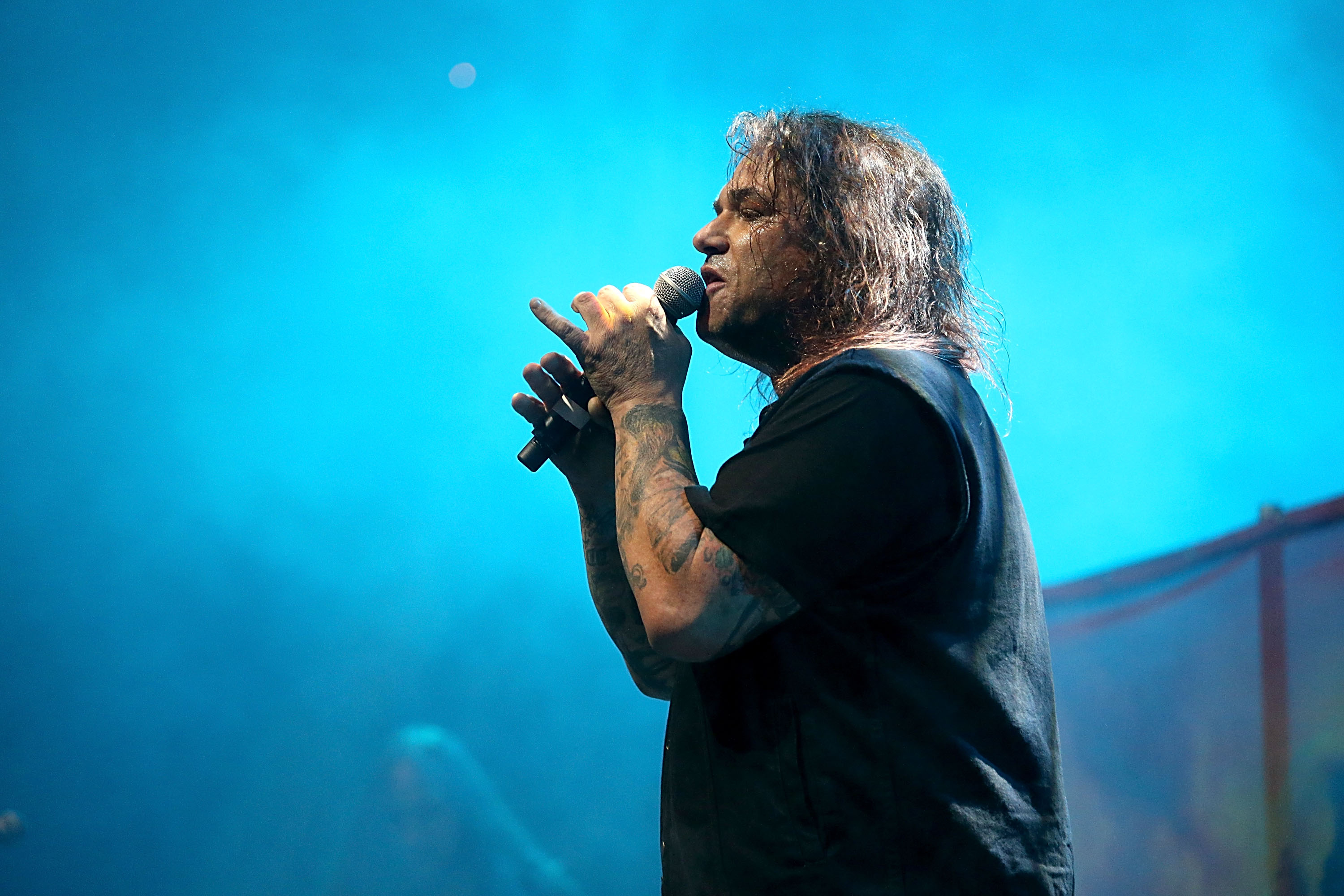 AUSTIN, TX - NOVEMBER 18:  Steve Souza performs in concert with Exodus at ACL Live on November 18, 2014 in Austin, Texas.  (P