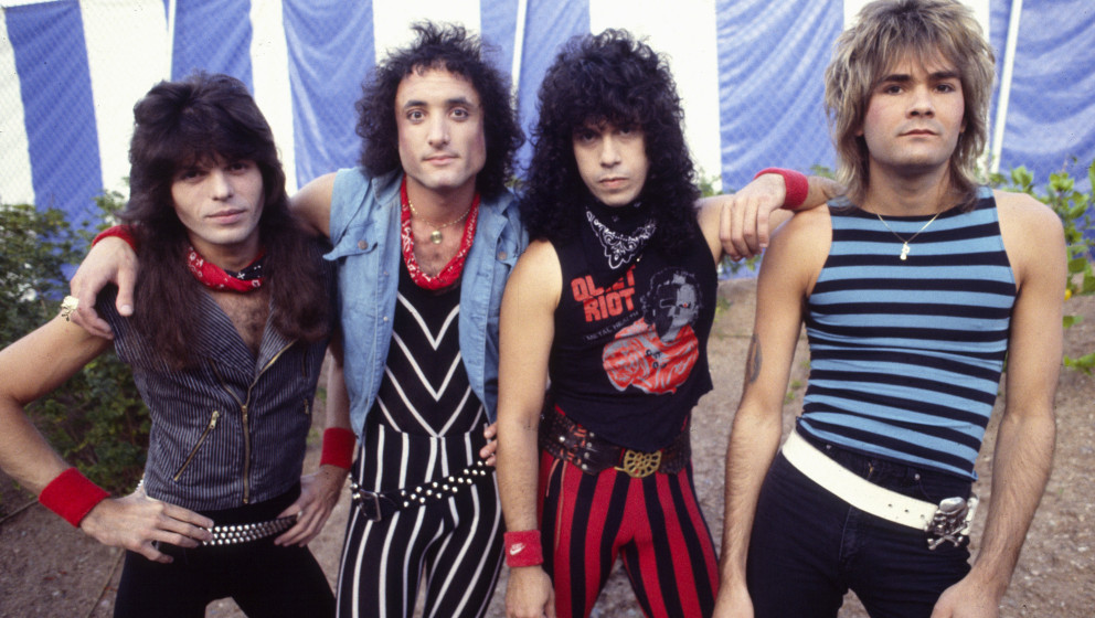 Quiet Riot 1983  Rudy Sarzo, Kevin DuBrow, Frankie Banali, Carlos Cavazo   (Photo by Chris Walter/WireImage)