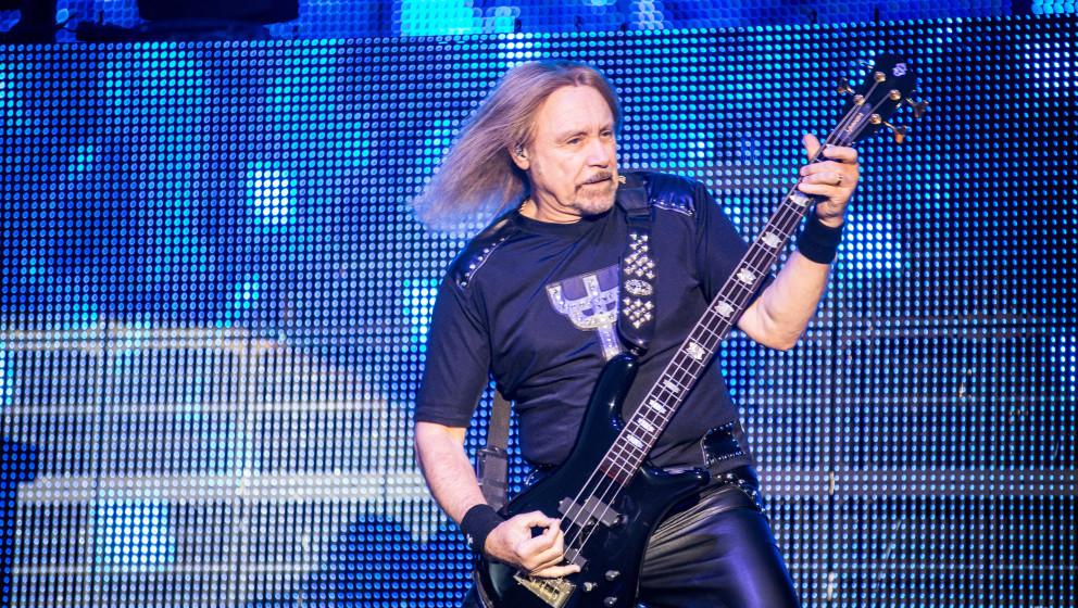 ASSAGO SUMMER ARENA, ASSAGO, MI, ITALY - 2015/06/23: Ian Hill of Judas Priest performs live at Assago Summer Arena. Judas Pri