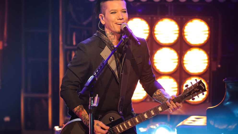 BURBANK, CA - OCTOBER 07:  Musician DJ Ashba of Sixx:A.M. performs at iHeartRadio Theater on October 7, 2014 in Burbank, Cali