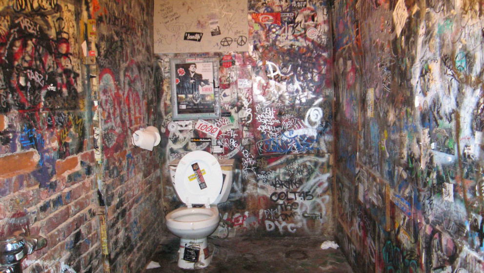 The toilets at the CBGB music club at 315 Bowery at Bleecker Street, New York City, ten days after the club closed down, 25th