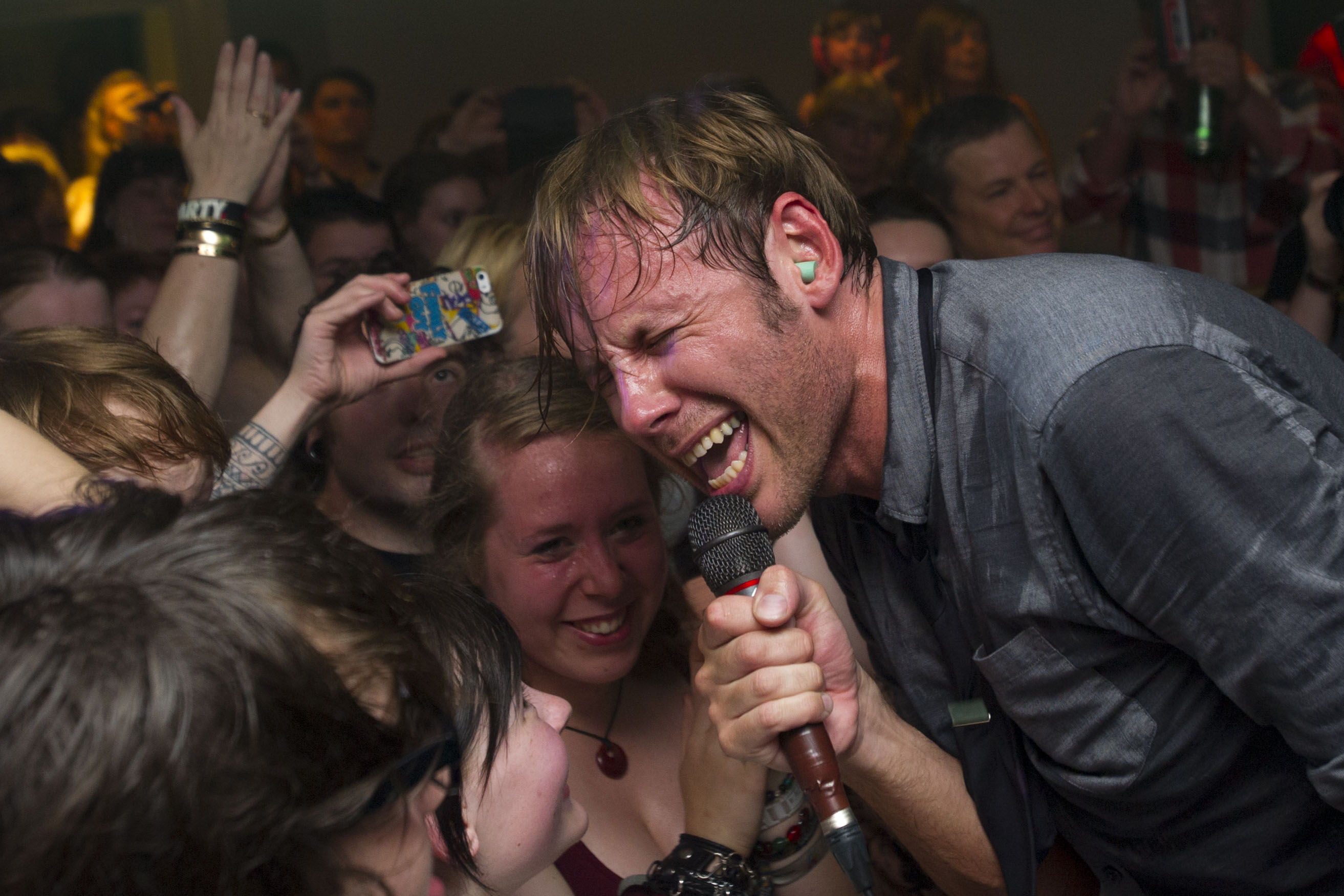 CARDIFF, WALES - JULY 22:  Geoff Rickly of No Devotion perform at CF10 in the Cardiff University Students' Union on July 22,