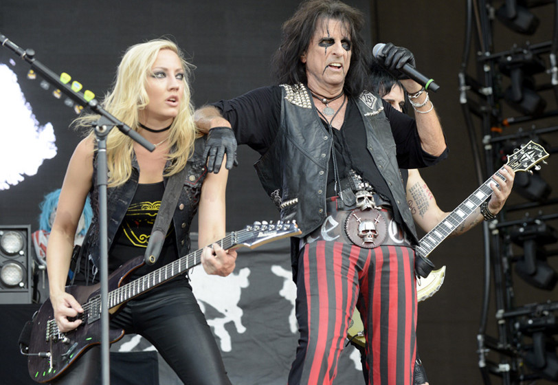 PEMBERTON, BC - JULY 18:  Nita Strauss (L) and Alice Cooper perform during the Pemberton Music Festival on July 18, 2015 in P