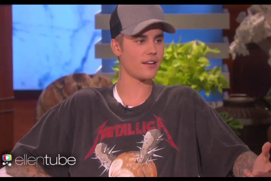Justin Bieber mit Metallica-Shirt, bei seinem Auftritt in der US-amerikanischen Talkshow.