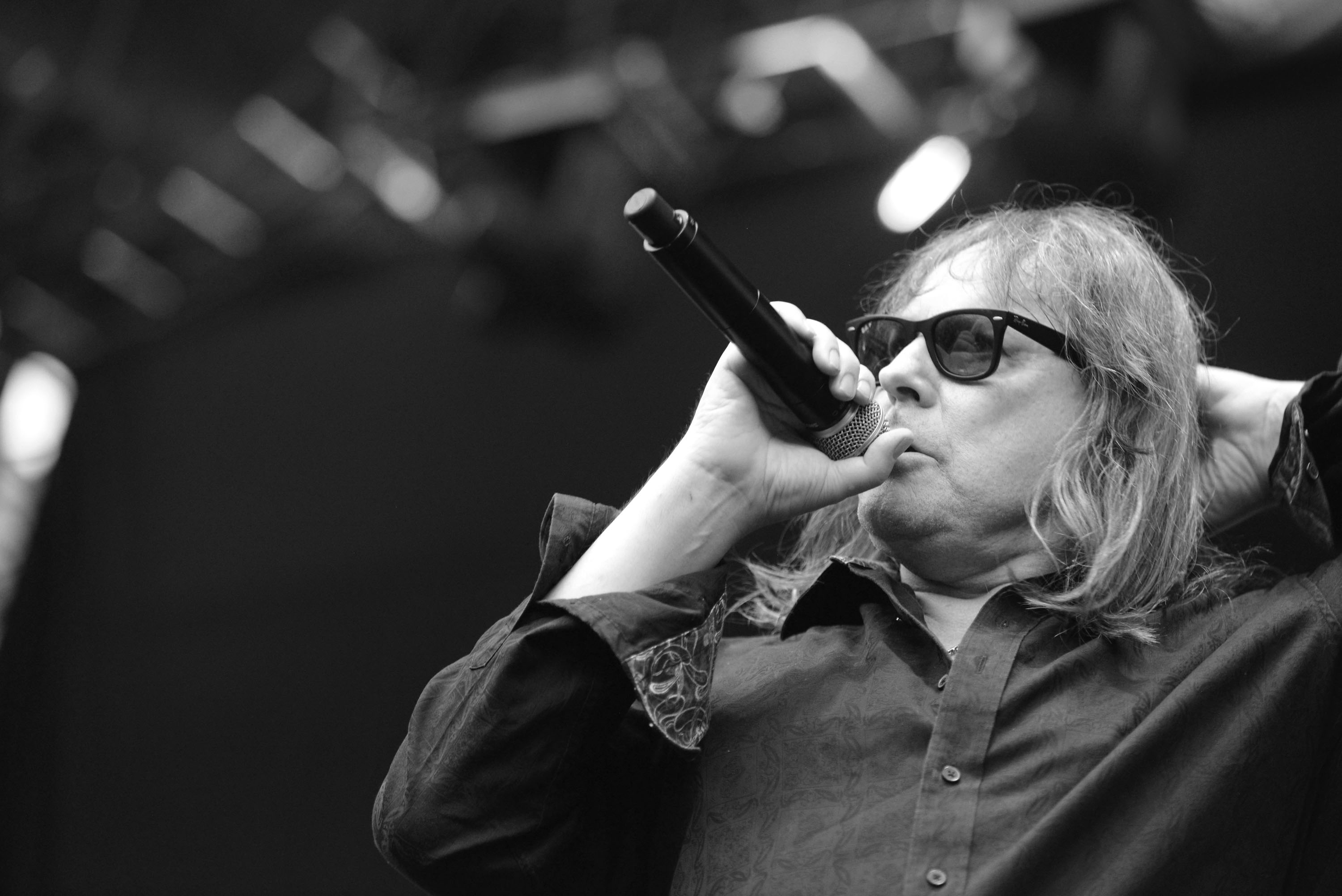 IRVINE, CA - AUGUST 15:  (EDITORS NOTE: Image has been converted to black and white) Singer Don Dokken of Dokken performs ons