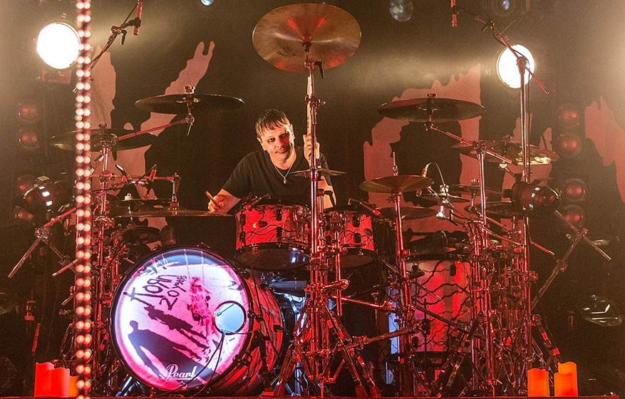 AUSTIN, TX - OCTOBER 19:  Drummer Ray Luzier of Korn performs in concert at Stubb's Bar-B-Q on October 19, 2015 in Austin, Te