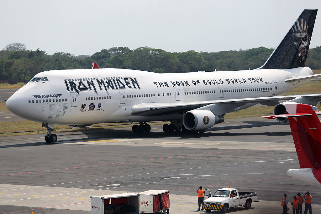 The Ed Force One airplane of British heavy metal band Iron Maiden is seen  at the Monsignor Oscar Romero International Airpor
