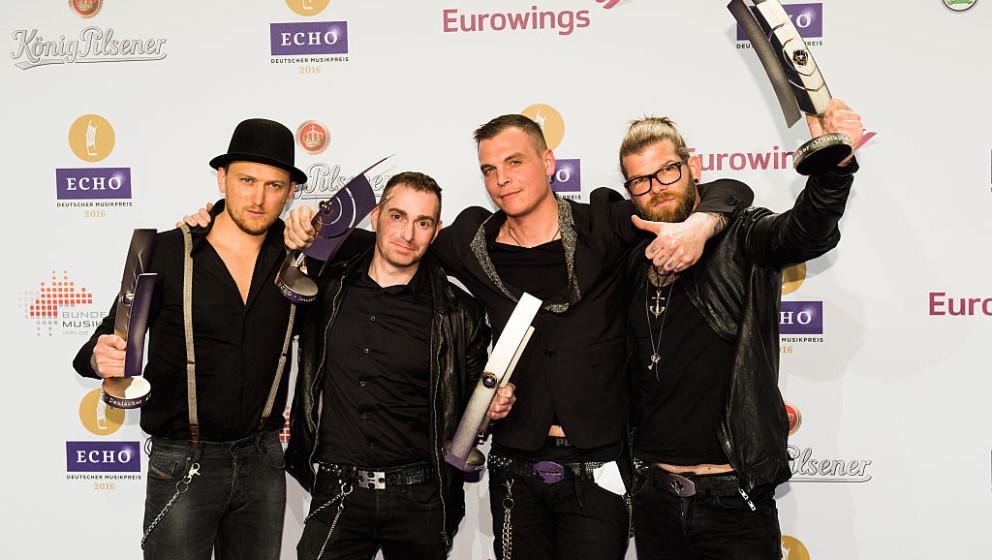 BERLIN, GERMANY - APRIL 07:  (L-R) Christian Fohrer, Jonas Notdurfter, Philip Burger and Jochen Gargitter, musicians of the b
