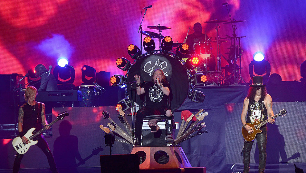 INDIO, CA - APRIL 16:  Duff McKagan, Axl Rose and Slash of Guns N' Roses performs onstage during day 2 of the 2016 Coachella