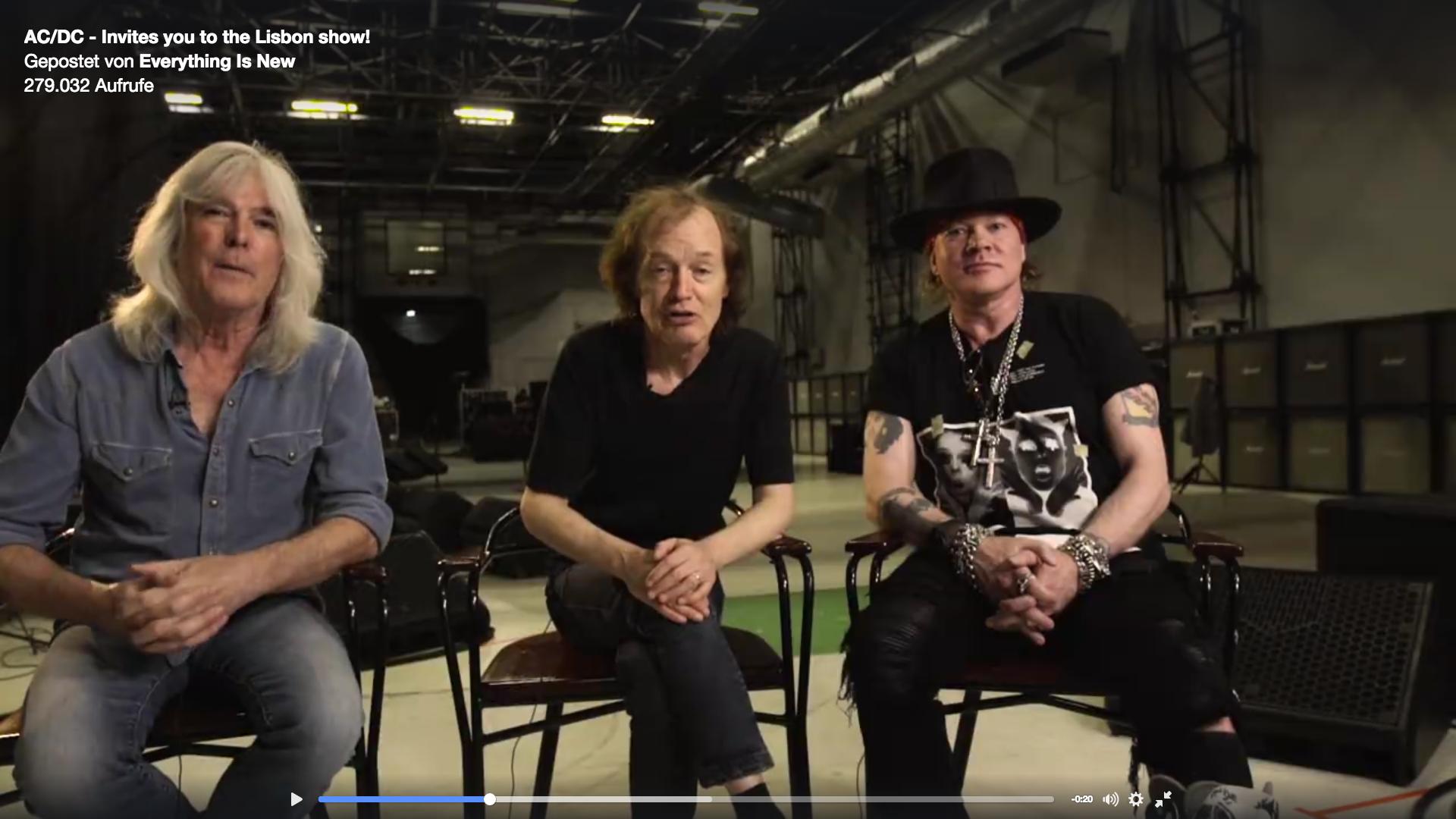Axl Rose und AC/DC treten zum ersten Mal gemeinsam vor die Kamera.
