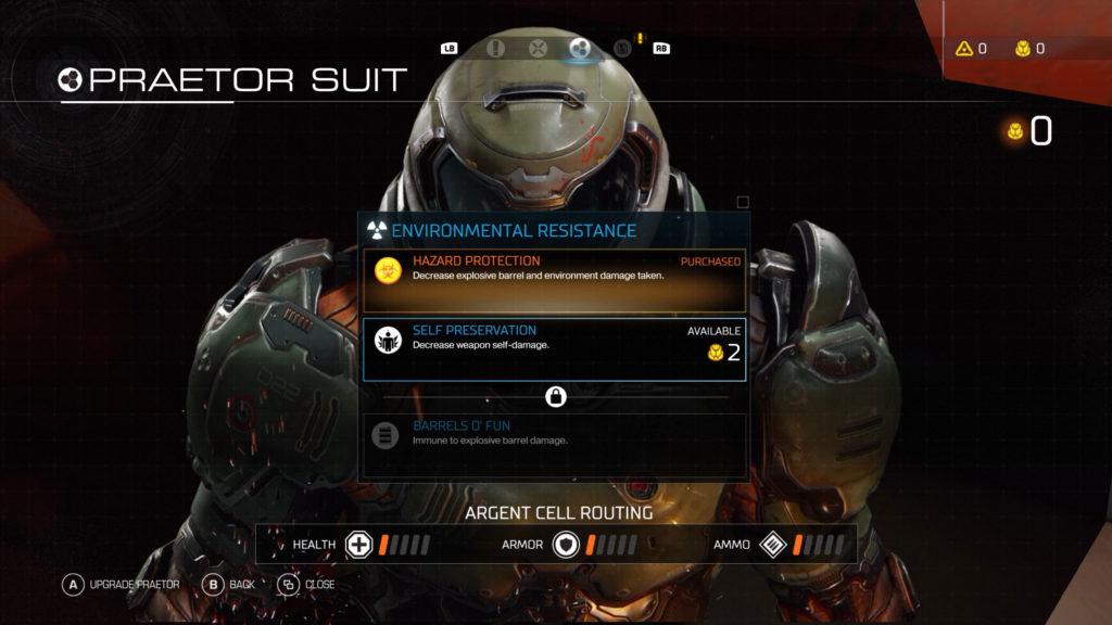 Upgrade-Bildschirm für den Praetor Suit