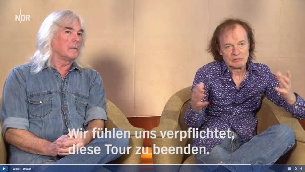 Angus Young und Cliff Williams im Hamburg Journal.