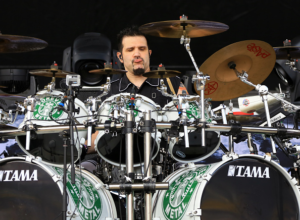 COLUMBUS, OH - MAY 17:  Musician Charlie Benante of Anthrax performs at MAPFRE Stadium on May 17, 2015 in Columbus, Ohio.  (P