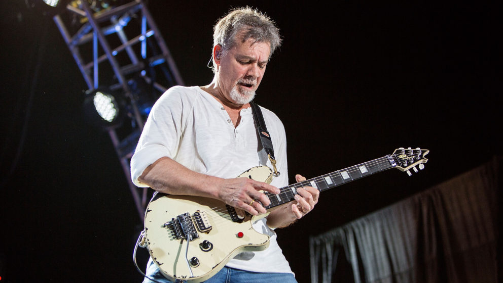 CHULA VISTA, CA - SEPTEMBER 30:  Guitarist Eddie Van Halen of Van Halen performs on stage at Sleep Train Amphitheatre on Sept