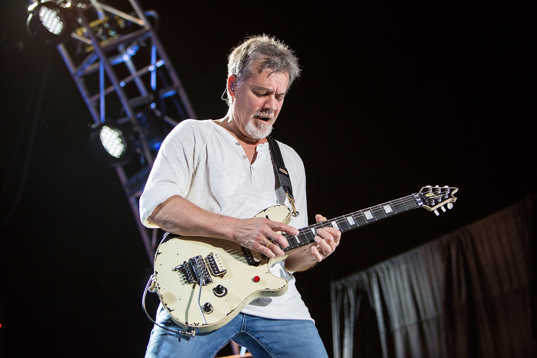 CHULA VISTA, CA - SEPTEMBER 30:  Guitarist Eddie Van Halen of Van Halen performs on stage at Sleep Train Amphitheatre on Sept
