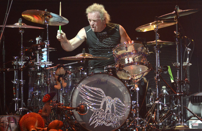 STATELINE, NV - JULY 03:  Joey Kramer of Aerosmith performs during the band's 'Blue Army Tour 2015' at Harvey's Lake Tahoe Ou