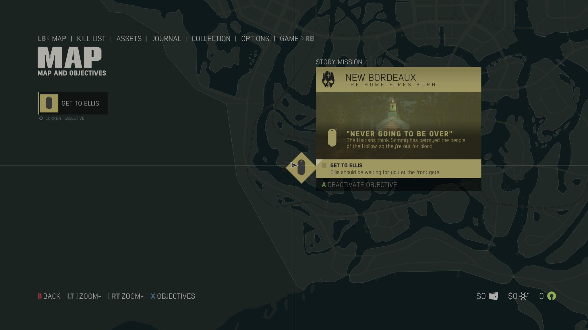 Das Pausen-Menü zeigt die Spielkarte und nächste Missionen