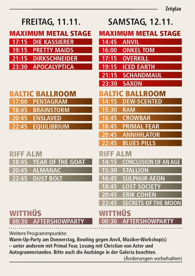METAL HAMMER PARADISE 2016: Timetable