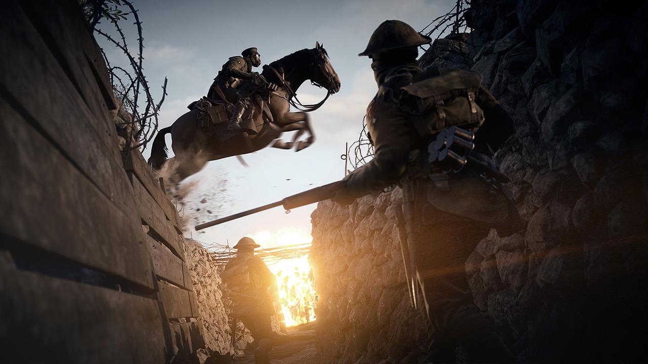 Auch das gibt es in Battlefield 1: Ein Pferd springt über einen Schützengraben