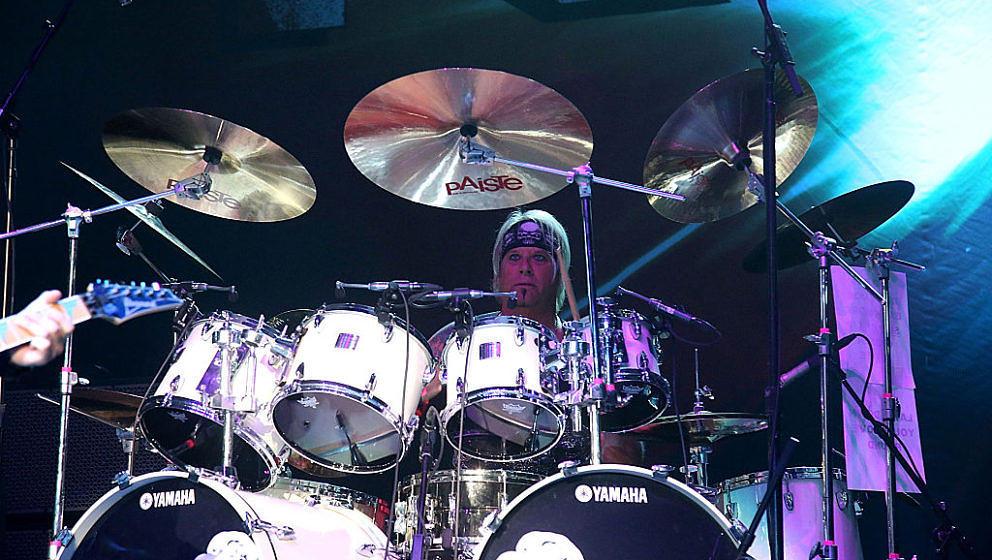 CEDAR PARK, TEXAS - APRIL 24:  Bobby Blotzer of Ratt performs in concert at the Cedar Park Center on April 24, 2016 in Cedar