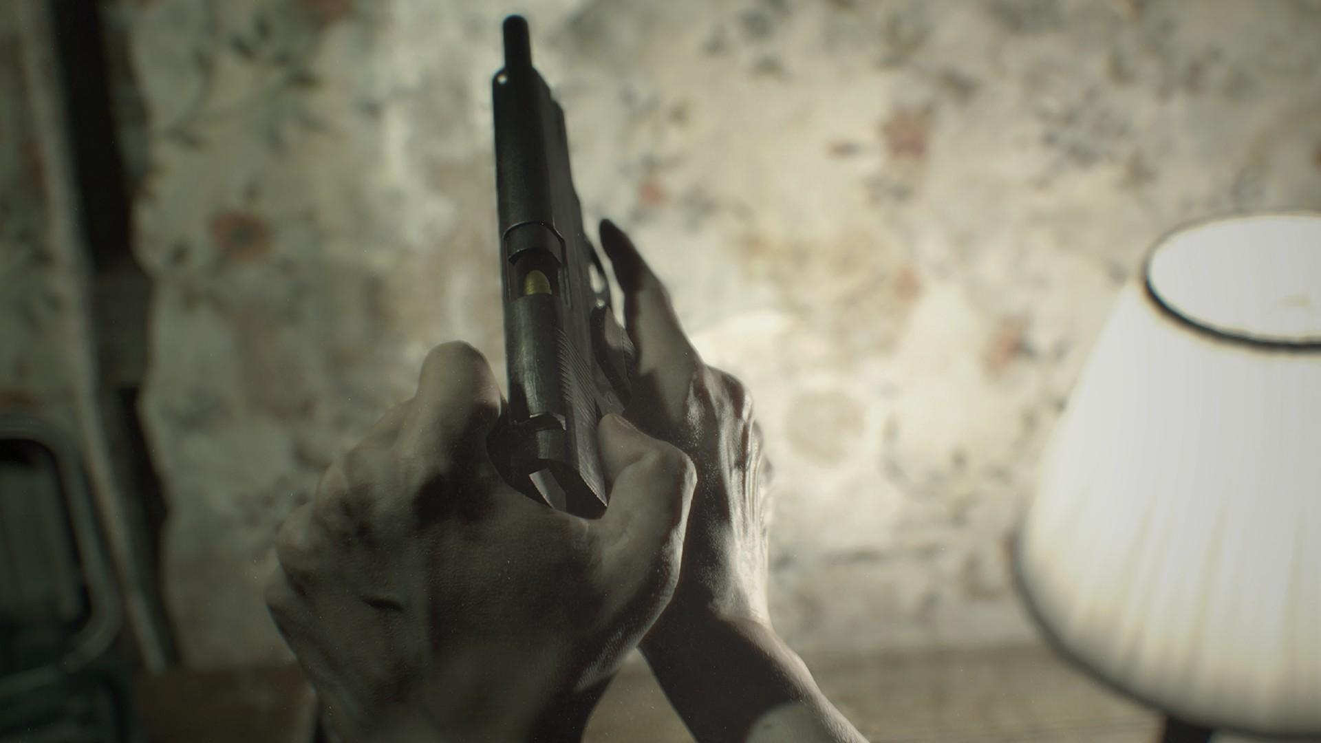 Zwar gibt es auch Waffen im Spiel, Resident Evil 7 Biohazard ist aber kein Shooter.