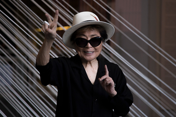 MEXICO CITY, MEXICO - FEBRUARY 02:  Artist Yoko Ono poses for pictures during the opening of Yoko Ono: Land of Hope exhibitio