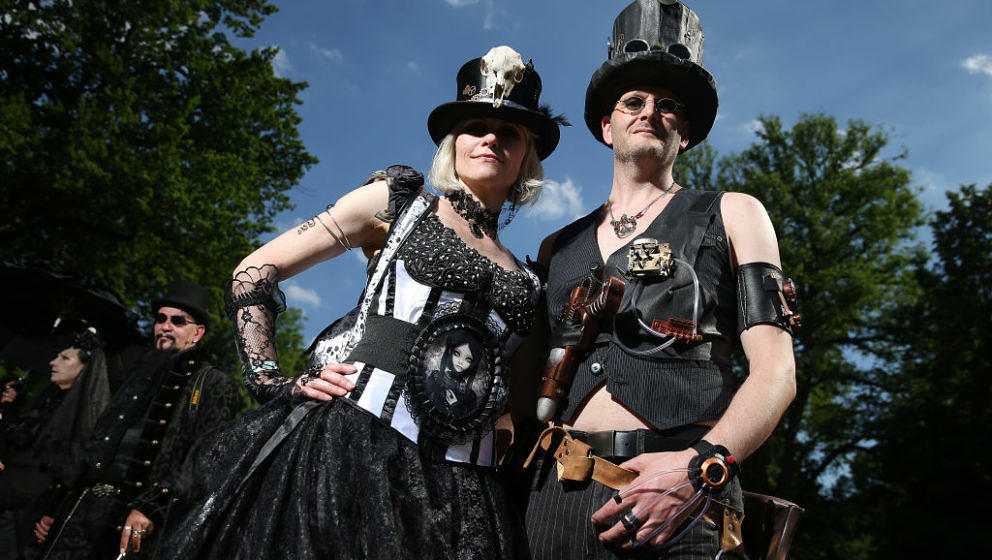 LEIPZIG, GERMANY - JUNE 02:  Steampunk-inspired visitors attend the Victorian Picnic on the first day of the annual Wave-Goti