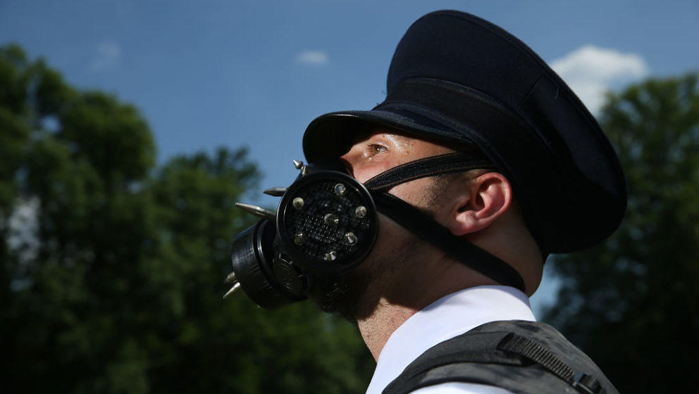 LEIPZIG, GERMANY - JUNE 02:  An appropriately-dressed visitor attends the Victorian Picnic on the first day of the annual Wav