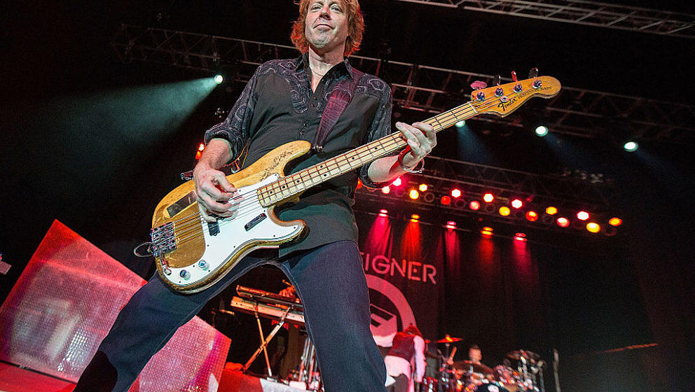 VALLEY CENTER, CA - APRIL 24:  Bassist Jeff Pilson of Foreigner performs on stage at Harrah's Resort on April 24, 2015 in Val