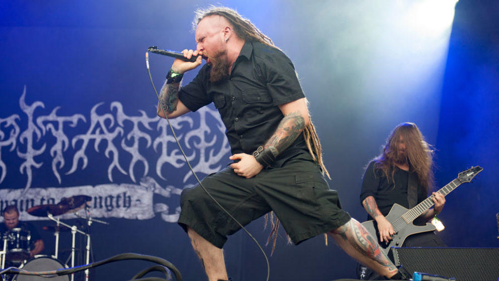 BURTON UPON TRENT, ENGLAND - AUGUST 11:  Rafal Piotrowski of Decapitated performing live on stage on day 1 at Bloodstock Fest