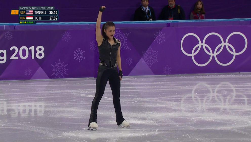Ivett Tóth tanzt bei den Olympischen Winterspielen 2018 zu Songs von AC/DC
