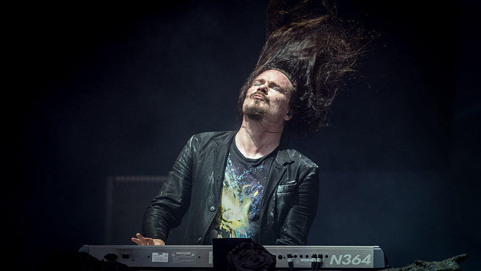 DONINGTON, ENGLAND - JUNE 12:  Tuomas Holopainen of Nightwish performs on the main stage at the Download Festival at Doningto