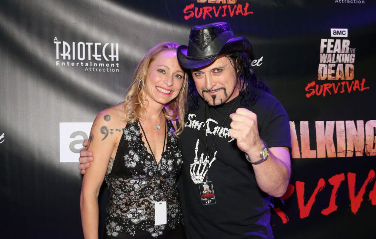 LAS VEGAS, NV - AUGUST 29:  Heidi Morrissey (L) and drummer Stet Howland of Metal Church attend the Fear the Walking Dead Sur