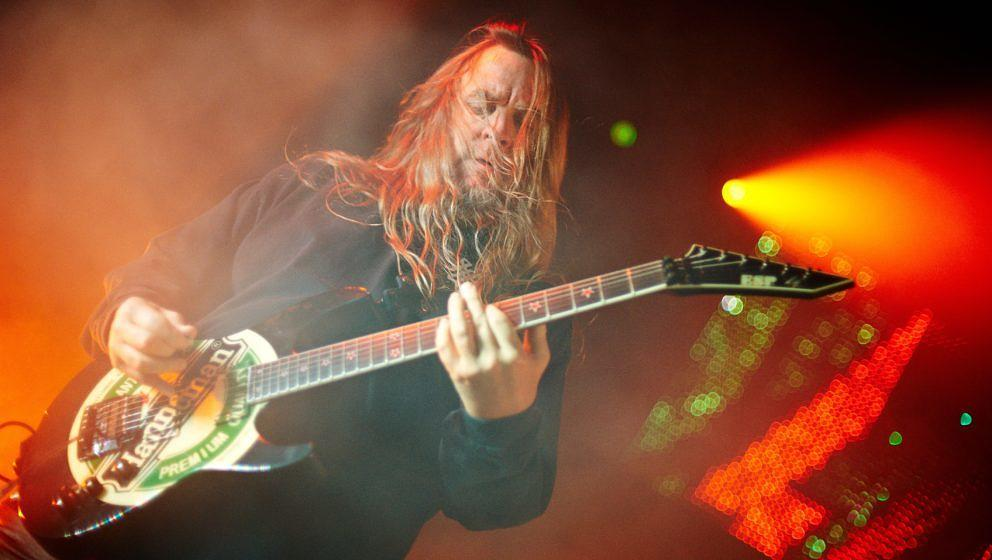 MANCHESTER, UNITED KINGDOM - MAY 30: Jeff Hanneman of Slayer perform on stage at Manchester Academy on May 30, 2010 in Manche