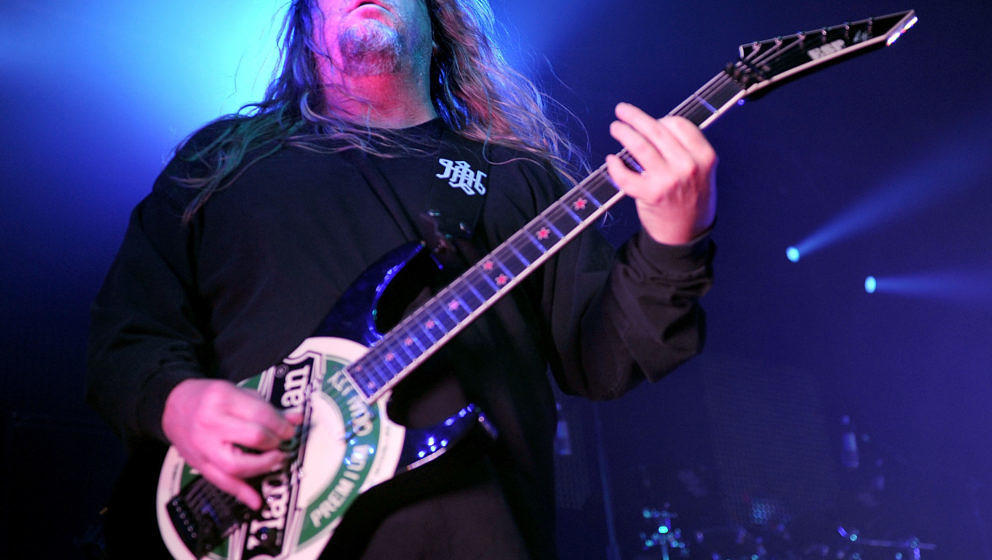 MANCHESTER, ENGLAND - MAY 30:  Jeff Hanneman of Slayer performs at Manchester Academy on May 30, 2010 in Manchester, England.