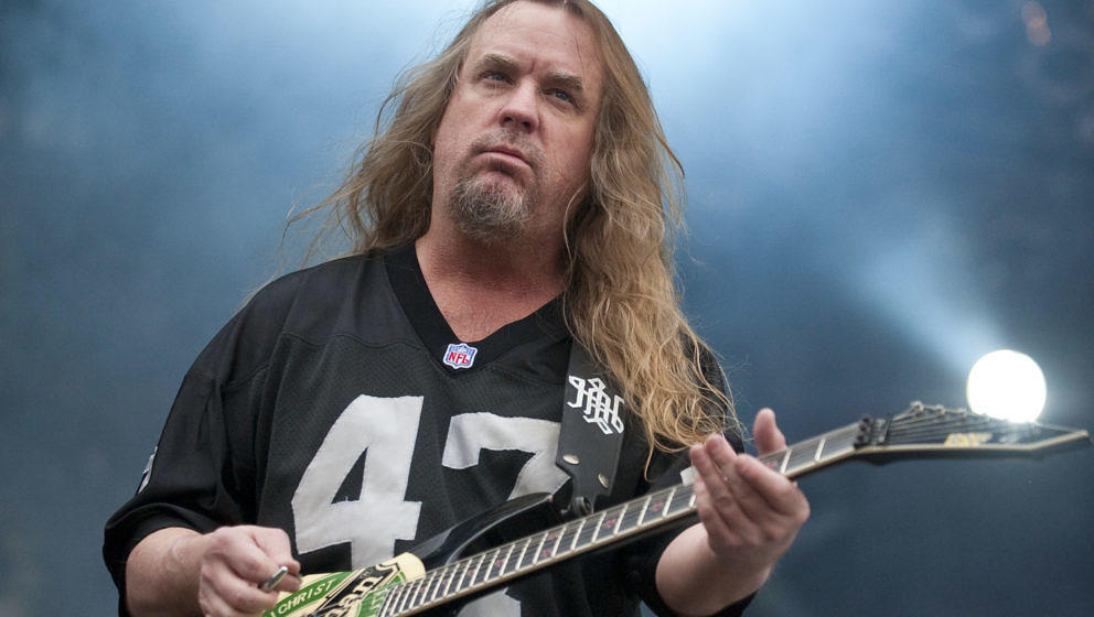 STEVENAGE, UNITED KINGDOM - AUGUST 01: Jeff Hanneman of Slayer performs on stage during the final day of the Sonisphere Festi